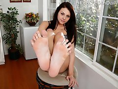 Megan Sage wants her feet rubbed and her boyfriend is ready to help. Touching her pretty feet is making his cock so hard that he needs to suck them. Her pussy gets so wet that begs to fuck him. He shoots his load all over her sexy toes.