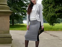 Fantastic brown-haired Sophia gets out the office to walk and tease outdoors in nylon tights and high stiletto heels