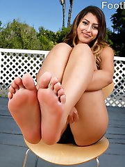 Sophia doesn't know that Evan is on the lookout for feet. When he finds hers, he can't stop himself. She gets turned on and begs for his cock. After he slams her pussy deep and hard he blasts his load all over her pretty feet.