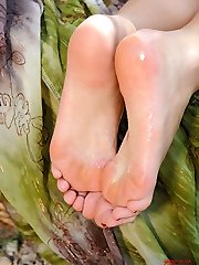 Denisa playing with her feet
