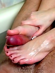 Sudsy foot job fuck fest