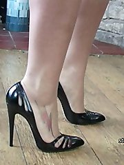 Imagine you are squeezing yourself in and out of the tight pointy front of Heidi's shoe. Or that with your tongue you are kissing her lovely high heel, or your fingers gently stroking and rubbing it up and down