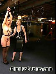 Hot girls don't get much tougher than Lorelei Lee. She really can take it all...a Dominant needs to think of new and imaginative ways to punish such an obliging submissive. This is no problem for Chanta, she ties Lorelei tight and adds cruel weights to her crotch rope. After some hard flogging and a strong forced orgasm she adds a CONCRETE block! Later Lorelei takes a huge DP (double penetration) and suffers with samurai turned all the way up. Chanta's isn't finished yet. Bound in a fuck friendly position she is pounded hard in the ass with Chanta's cock. As if all of this were not enough, somehow a toe ends up in Lorelei's ass and 2 more in her pussy...and yes, she is made to lick those toes clean! This is the HOTTEST shoot on Chanta's Bitches. Hot action, hard fucking, big insertions and tight bondage...can it really get any better than this?