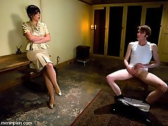 It's Johnny's last day of [REDACTED] and Head Dominatrix Penny Flame stops by the dormitory to administer one final lesson.  Donk paddling, glory hole Cock And Ball Torture, bondage, tit clothespins and cum eating are all on the test.