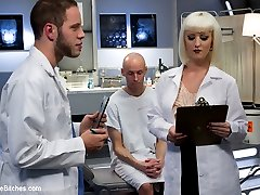 Dr. Torn's FemDomme Laboratory: Pushed, Probed, Fucked and Cucked!Dr. Cherry Torn conducts medical research experiments on the physical and emotional effects of pain and humiliation on the male specimen.  Dr. Torn takes a twisted interest in subject #214 (Sean Spurt), who has a particularly intriguing reaction to the doctor's sexy and sadistic techniques.Throughout the course of the six-month experiment, 214 develops an attachment to his beautiful and commanding doctor as well as affection for her.  While 214 is slapped, clamped and electrocuted in bondage, his cock drips with a remarkable amount of precum.  He reluctantly entertains her fascination with the humiliating effects of feminization, including full transformation, a