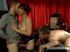 Mz Berlin is simply Divine in our recent cuckolding update! Berlin and her hubby Jimmy are a luving duo who always fantasize about her plowing another guy in front of him. Jimmy doesn't like to admit it but he privately enjoys it and by the reaction of his beef whistle he can't lie! While out to dinner one evening Berlin decides the fantasy concludes now and she wants to make it reality! Berlin insists on Jimmy asking the much junior beautiful waiter to come home and poke his wife while he has to sit and watch in virginity. Otter does just that and the night turns into a ultra-kinky, embarrassing, cuckolding plow fest where Jimmy not only gets Berlin's bull hard with his gullet while taking a wire-on lollipop deep in his backside he also takes an entire load of jism to his face just to watch his wifey grin.