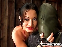 Sandra Romain has a way with words, and when she interrogates this poor boy in her native language, he is loathe to disappoint her.  Hooded, gagged and bound, juliann takes brutal punishment from the sadistic mistress including forced strap on sucking and a mean ass fucking.  Finally bound to please, she smothers his hungry face in her ass, pussy and tits till  she finally gets off over his bound body and leaves him for the clean up crew.