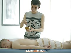 Tristan is back with his cute blonde buddy Ricardo. After a nice relaxing massage and blowjob Ricardo is all horned up to give Tristan a good fucking. Enjoy!
