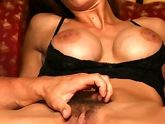 Lingerie clad Hirsute Angel Wildfire got her unshaved pussy combed and finger-tickled before riding a cock