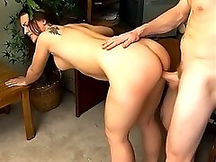 Pretty brunette pierced with dick in her hairy pussy