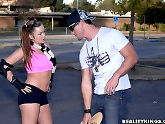 Super sexy skater babe kaci in boy shorts gets her hot bush pounded hard in these hot pussy fucking and cum faced pics and big video