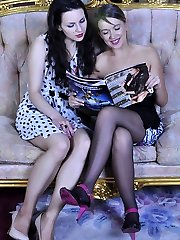 Playful chicks put off a fashion mag for a heated strapon session in stocking