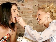 Hot lesbian mother hooks up with his sons cute brunette girlfriend and they get caught