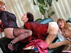 Extremely marvelous gals in exquisite pantyhose licking their beavers by turn