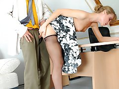 Frisky secretary teasing hot guy with her flying skirt before pantyhose sex