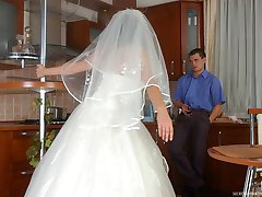 Horny bride in suntan pantyhose going down for fucking right on the floor
