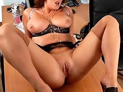 It's get boring in the office at the end of the day for Jenny, and you give her a chance to get some kicks teasing and more... Overtime could be on the cards for this bountiful buxom babe!
