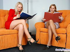 Insatiable secretary eagerly sucking strap-on encased in suntan pantyhose