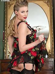 Danielle  loves to bathe in nylons and finery and often has a splash of champagne with her bath!