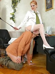 Hottie in white stockings turning guy into her muddy and subordinated romp toy