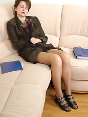 Hot secretary babes sniffing pantyhose before getting to kiss-n-lick action