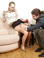 Freaky secretary getting her insatiable muff filled with soft silky tights