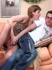 Randy milf in nylon tights gliding into guy�s denim longing for sheer plumb