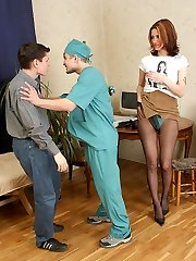 Sick babe in sheer-to-waist stockings receives her pummeling therapy in 3some