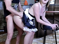 Attractive French maid in shiny nude pantyhose getting dicked from behind