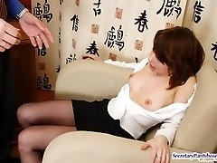Curious secretary in black tights getting punished with doggy style fucking