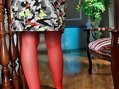 Girl in glasses wearing raunchy crimson suspender tights rubs her itchy honeypot