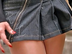 Outdoor upskirt flashing of sizzling steamy chick in flesh-colored pantyhose