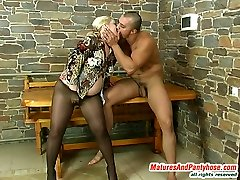 Hot mature gal in control top pantyhose chooses role games before wild boink
