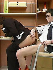 Full mature businesswoman mounts young hunk's dick for reverse cowgirl ride