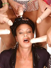 Vanessa Videl and her lesbian milf friends pleasure their snatch with huge dildos