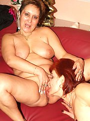 Mature ladies Steph and Jullianna both get naked and slurp each others old cooters in this lesbian porn
