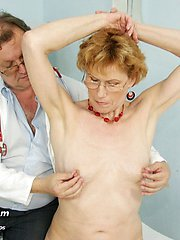 Old Mila pussy gyno speculum clinic examination by doctor