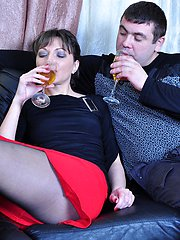 Dazzling mature babe in sheer-to-waist pantyhose gets used hard on the sofa