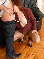 Redhead mature babe getting screwed right in her tan control top pantyhose