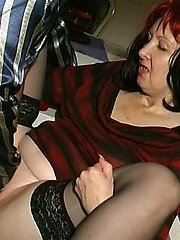 Lustful mature gal and her younger lover having deep throating and fucking amusement