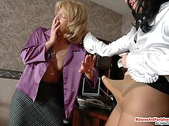 Nasty dame-manager seducing her mature assistant and getting hot pantyhose sex
