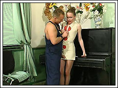 Hunky stud nails a yelling blonde mommy on top of a piano