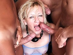 Experienced chick Lina heads to work deepthroating and pummeling two guys in a hot threesome