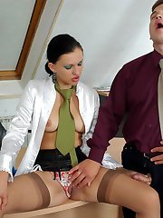 Frisky secretary tasting nylons before wanking rocky cock through stockings