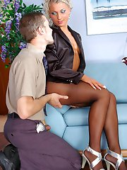 Curvy secretary flashing her new pantyhose before steamy fucking in office