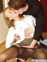 Leggy secretary babe in black sheer-to-waist pantyhose craving for hard sex