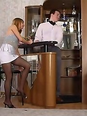 Mischievous co-employee can�t keep his cock in trousers looking at pantyhosed babe