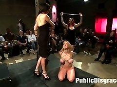 Darling shows up for her Public Disgrace asking for a challenge. Donna sees how much electricity she can take while the crowd torments Darling.Then Darling does something she's never done before - she gets fucked on camera for the first time by John Strong, while she's pleasuring Mz. Berlin.