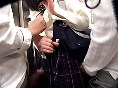 Amateur Asian chick is touched under uniform PublicSexJapan.com