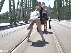 Stella Cox is a young busty brunette with a skinny waste and huge natural tits. She is also a complete public slut and beautiful anal fuck whore. Steve and Nikki Thorne parade their gorgeous slave around town for everyone to see. She even gets a butt plug tail to shake for the crowds. Nikki can't wait to get her hands all over this tight body slut and finger bangs Stella right in front of everyone outdoors! Steve brings the party to a crowded restaurant for deep throat cock sucking, hard fucking, anal fisting and double penetration!